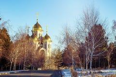 Landskap med guld- kupoler av den kyrkliga ortodoxa kyrkan Royaltyfri Foto