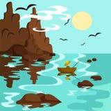 Landskap med havet, berg och fiskaren i ett fartyg vektor illustrationer