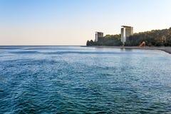 Landskap med havssikter abkhazia pitsunda Arkivbild