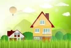 Landskap med hus Arkivfoto