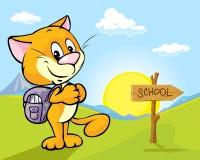 Landskap med katten och riktningstecken Royaltyfria Bilder