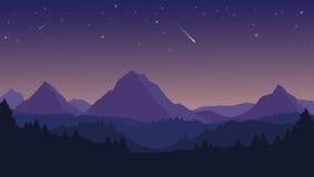 Landskap med konturer av blå berg, kullar och skog a Arkivbild