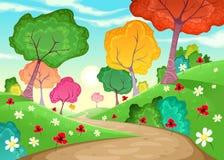 Landskap med mång--färgade träd Arkivfoton