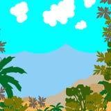 Landskap med moln och berg Arkivfoto