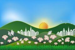 Landskap med naturen och byggnad, begrepp av räddningen jorden och Royaltyfria Bilder