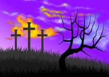 Landskap med plats av calvaryen, med symbolismen av korsfästelsen av Jesus royaltyfri illustrationer
