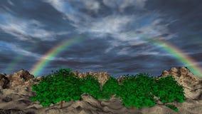 Landskap med regnbåge- och för moln 3D animering stock illustrationer