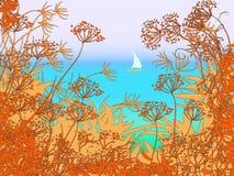 Landskap med segelbåten Arkivfoton