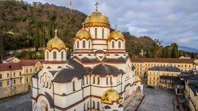 Landskap med sikter av den nya Athos Christian kloster Arkivbilder