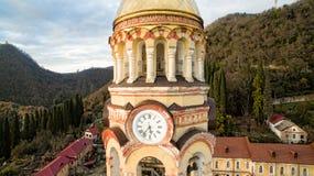 Landskap med sikter av den nya Athos Christian kloster Royaltyfri Fotografi