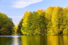 Landskap med sjön och mångfärgade träd i höst Royaltyfri Foto