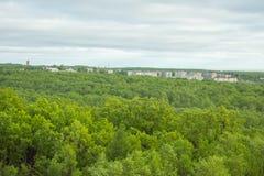 Landskap med skogen och en liten stad Arkivfoto