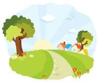 Landskap med små hus royaltyfri illustrationer