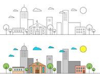 Landskap med stadshorisont med museet Redigerbara slaglängder Plan designlinje vektorillustrationbegrepp Redigerbara slaglängder stock illustrationer