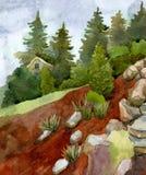 Landskap med stenar, blommor, träd och sörjer mot himlen arkivfoton