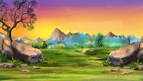 Landskap med stora stenar och berg Royaltyfri Fotografi