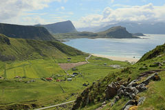 Landskap med stranden på Lofoten öar, Norge Royaltyfria Foton