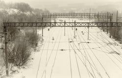 Landskap med tom järnväg infrastruktur i Ukraina Arkivbild