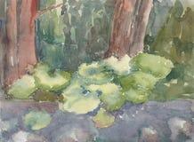 Landskap med träd och burduck Stock Illustrationer