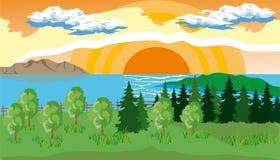 Landskap med träd, sjön och solen Royaltyfri Bild