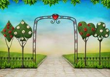 Landskap med träd, topiaryen och rosor royaltyfri illustrationer