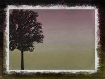 Landskap med trädet i grungeram royaltyfri illustrationer