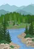 Landskap med träd och bergfloden Arkivfoton