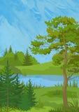 Landskap med träd och sjön Arkivbilder