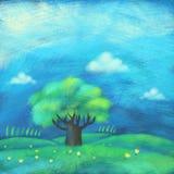 Landskap med treen Arkivfoto