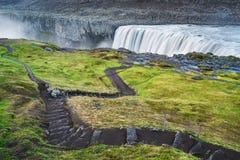 Landskap med vattenfallet Dettifoss, Island royaltyfri foto