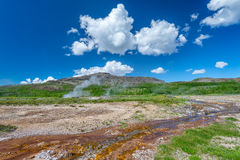 Landskap nära berömt Geysir område i Island Fotografering för Bildbyråer
