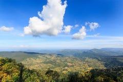 Landskap naturen överst av ett berg på Phu Rua, Loei, Thailand Fotografering för Bildbyråer