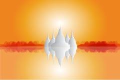 Landskap- och Buddhabild Stock Illustrationer