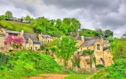 Landskap på chateauen de Montsoreau på banken av Loiren i Frankrike royaltyfri fotografi