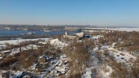 Landskap på den Dnipro floden och Dnieper den hydroelektriska stationen, Zaporizhia arkivfoton