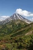 Landskap på Kamchatka: pittoresk sikt av den Viliuchinsky vulkan Arkivbild