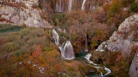 Landskap på Plitvice sjöar lager videofilmer