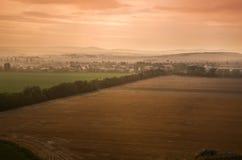 Landskap på solnedgången Fotografering för Bildbyråer