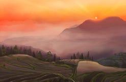Landskap på solnedgången Royaltyfria Bilder