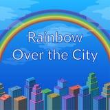 Landskap, regnbåge och stad Arkivbilder