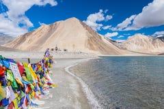 Landskap runt om Pangong sjön i Ladakh, Indien Royaltyfri Foto