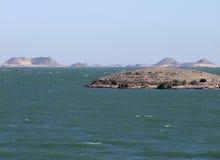Landskap runt om sjön Nasser Arkivfoton