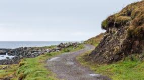 Landskap sammansättning av en blåsig bana bredvid kusten Royaltyfri Bild