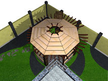 Landskap sikt för hög vinkel för axel, framför 3D Arkivbilder