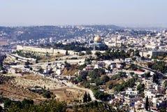 Landskap sikten av den heliga staden av Jerusalem Royaltyfri Bild