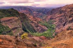 Landskap sikten av den Waimea kanjonen på soluppgång, Kauai, Hawaii Royaltyfri Fotografi