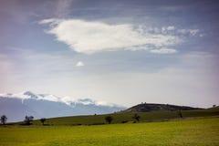 Landskap sikten, ingången av Razlog, Bulgarien arkivfoto