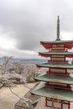 Landskap sikten uppifrån av den Chureito pagoden i Kawaguchi-knock-out, Arkivfoto
