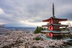 Landskap sikten uppifrån av den Chureito pagoden i Kawaguchi-knock-out, Royaltyfria Bilder