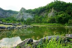 Landskap sjö, skog, himmel Royaltyfri Bild